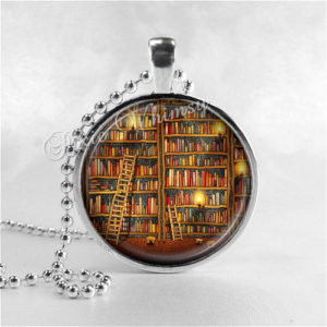 library shelves book pendant
