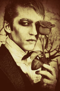 handsome vampire in sepia