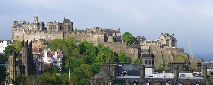 Edinburgh skyline, with the Castle atop the volcanic Castle Rock dominating the city.