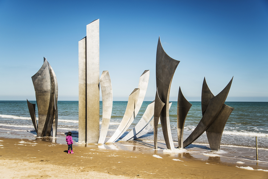 the memorial on Omaha Beach in Normandy