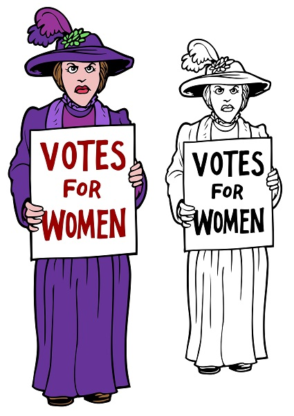 suffragette with sign