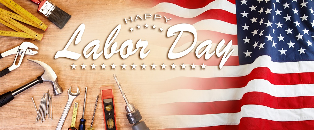 American flag and tools. Happy Labor Day